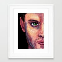 dean winchester Framed Art Prints featuring Dean Winchester by Wayward Quasar