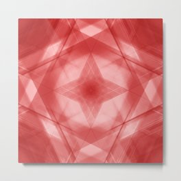 Vintage triangular strokes of intersecting sharp lines with ruby triangles and a star. Metal Print