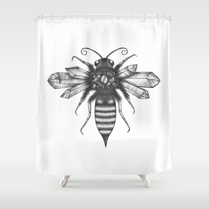 Quartz Queen Bee Shower Curtain By Saraelanillustration