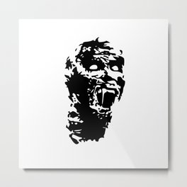 Zombie Face Metal Print