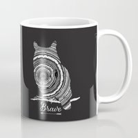 be brave Mugs featuring brave by Vickn