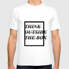 Think outside the box SMALL Mens Fitted Tee White