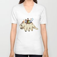 zuko V-neck T-shirts featuring The Gaang by NeleVdM