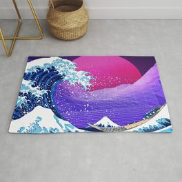 Synthwave Space: The Great Wave off Kanagawa #2 Rug