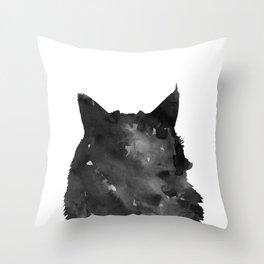 Watercolor Black Cat Throw Pillow