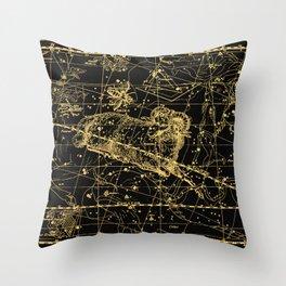 Aries Constellation, Astronomy, Astrology, Zodiac, Horoscope, Vintage Engraving Art Map Throw Pillow