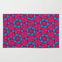 Patterns: Pink Blue Flowers Rug