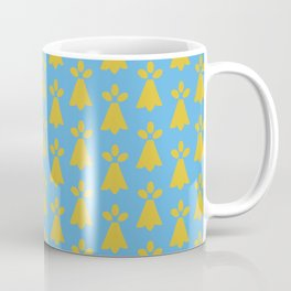 French Country Blue and Gold Ermine Spots Patterned Print Coffee Mug