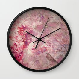 Lost Moments woman romantic illustration in shades of red Wall Clock