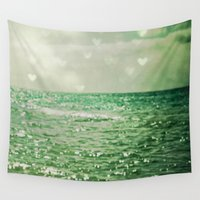 aqua Wall Tapestries featuring Sea of Happiness by Olivia Joy StClaire