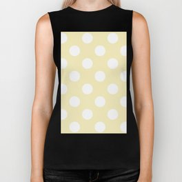 Large Polka Dots - White on Blond Yellow Biker Tank