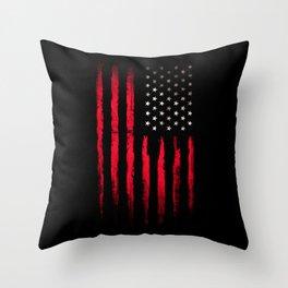 American flag Vintage Black Throw Pillow