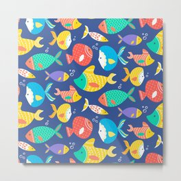 Seamless pattern of different kind sea multicolored fishes Metal Print