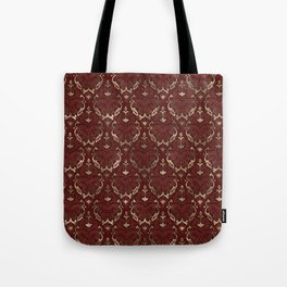Persian Oriental Pattern - Red Leather and gold Tote Bag