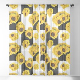 Large Check Yellow Sunflower Floral with Black and White Checkered Summer Print Sheer Curtain