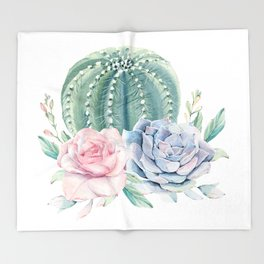 Cactus Rose Succulents Throw Blanket