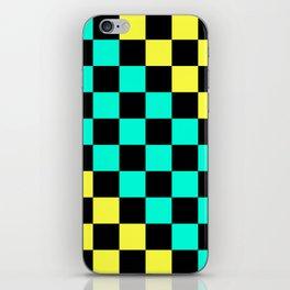 Black, Aqua, & Yellow Checkerboard Pattern iPhone Skin