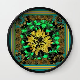 Abstracted Teal-Green Yellow Chrysanthemums Floral Wall Clock