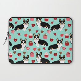 Welsh corgi valentines day gifts tri colored corgis cupcakes hearts love dog breed corgi crew Laptop Sleeve