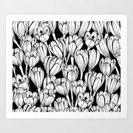 Monochrome seamless black floral vector pattern. Crocus flowers on a black background. Art Print