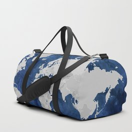 Dark blue watercolor and grey world map Duffle Bag
