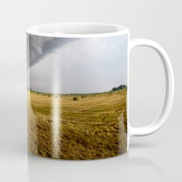 Spinning Gold - Storm Over Hay Bales in Kansas Field Coffee Mug