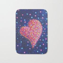 Graffiti heart on Brick Wall with Paint Splatters Bath Mat