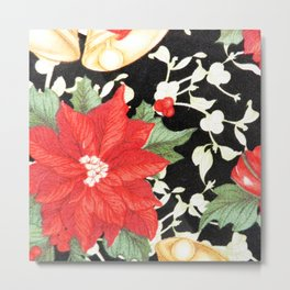 Vintage red green bright christmas floral Metal Print