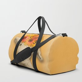 Daisies Sheep Girl Portrait, Mustard Yellow Texturized Background Duffle Bag