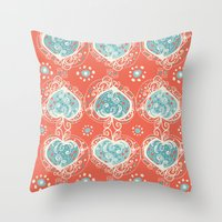 nordic Throw Pillows featuring Nordic Heart by Sarah Doherty