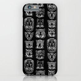 Kickass Kitties - white on black iPhone Case