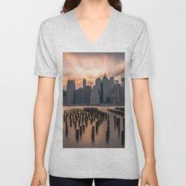 New york city long exposure Unisex V-Neck