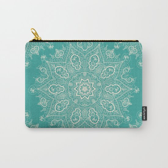 Teal and Lace Mandala Carry-All Pouch
