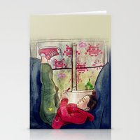 video games Stationery Cards featuring Girls & Video Games by Danielle Feigenbaum