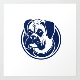 boxer head blue Art Print