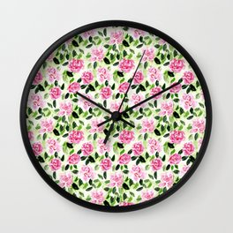 Pink and Green Garden Floral Pattern Wall Clock