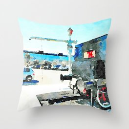 Pescara: steam locomotive in the station square Throw Pillow