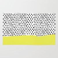 polka dot Area & Throw Rugs featuring Polka dot rain dip by Maiko Nagao