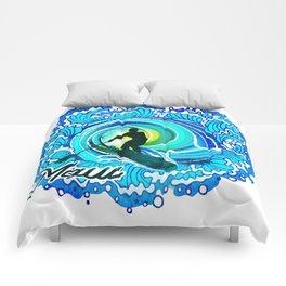 Sup paddle Boarder Beautiful Ocean Blue SPLASH Comforters