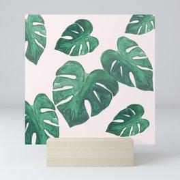 Monstera Leaves on Pink Mini Art Print