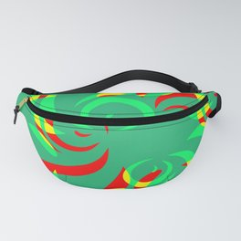 Pattern from colored doodles and curls in floral ornament in ethnic style on azure background. Fanny Pack