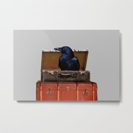 Raven in suitcase Collage #society6 Metal Print