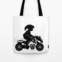 mario kart Tote Bags featuring Mario Kart 8 - Master Cycle Silhouette by brit eddy
