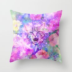 Space Cat | Girly Kitten Cat Romantic Floral Pink Nebula Space Throw Pillow