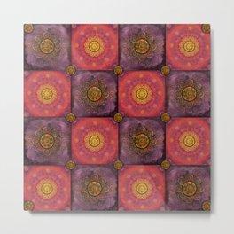 """Moroccan chess Strawberry & Purple Pattern"" Metal Print"