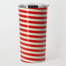 Vintage American Beige and White Stripes Travel Mug