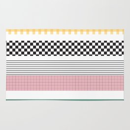 Mixed Pattern Stripe Print Color Blocking Rug