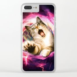 Galaxy Cat Hole Clear iPhone Case