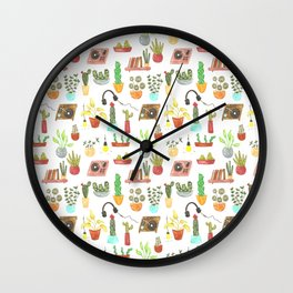 watercolor vinyl records and cacti Wall Clock