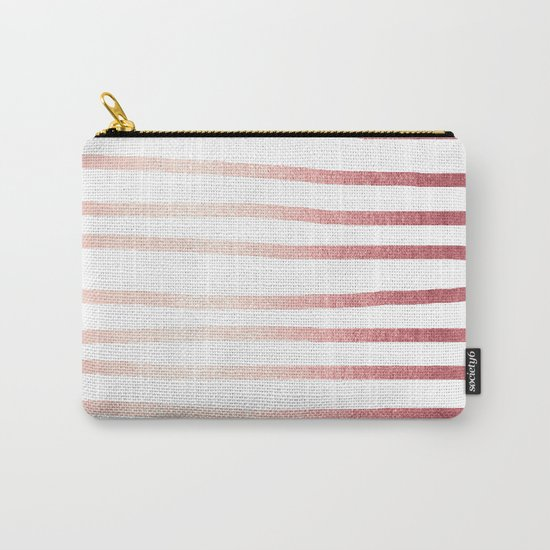 Simply Drawn Stripes Rose Gold Twilight Carry-All Pouch
